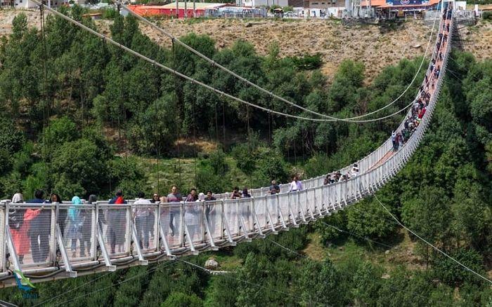 طولانیترین پل معلق خاورمیانه در ایران + تصاویر
