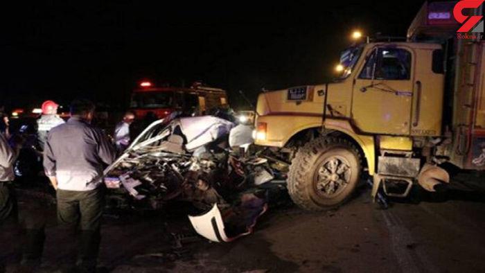 تصادف وحشتناک و مرگبار کامیون و پراید / عکس