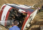 ۵۰٪ حادثه واژگونی اتوبوس گردن راننده افتاد!