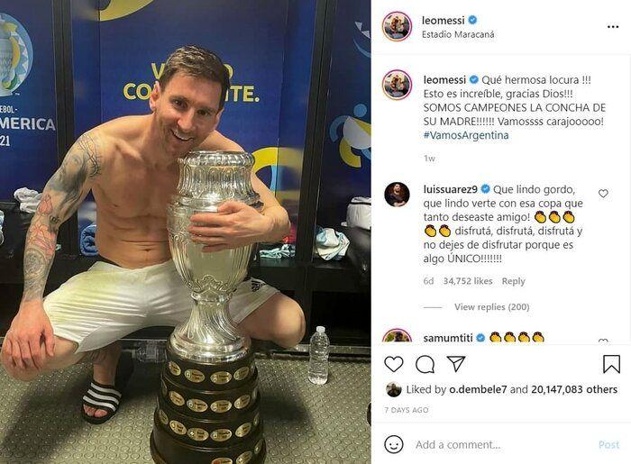 مسی در اینستاگرام هم رونالدو را شکست داد