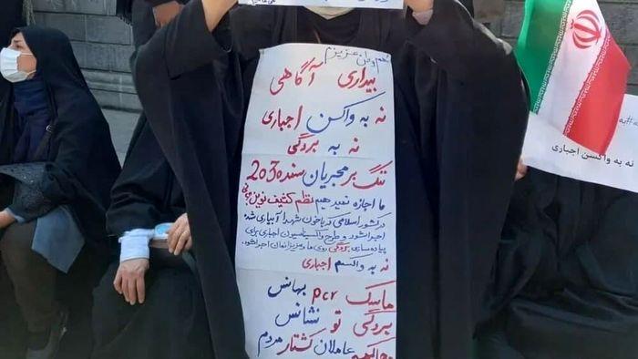 تجمع اعتراضی مخالفان واکسیناسیون در مقابل مجلس + عکس
