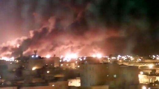 اولین تصویر از حمله شدید موشکی به آرامکو عربستان